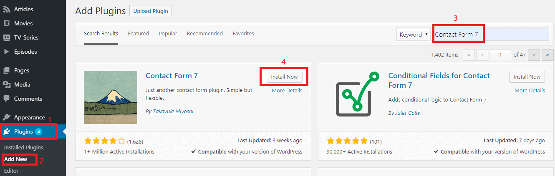 add contact form7 plugin