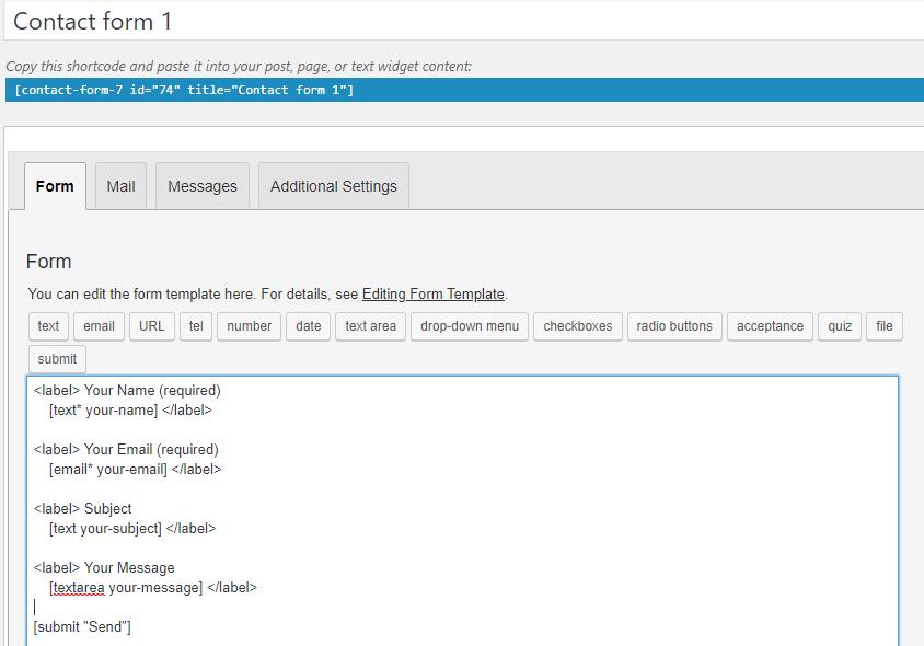 default form contact 7