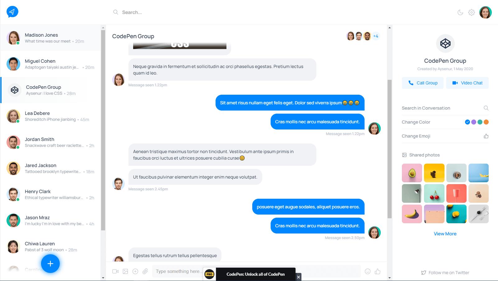 Messaging App UI with Dark Mode